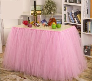 Stuffwholesale Fitted Party Table Skirt Children Party Decoration Table Cloth (Pink)