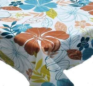 Summer Floral Vinyl Flannel Back Tablecloth - 70 Round