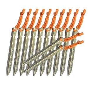 Tripmas Ultralight Titanium Tent Stakes - Anticorrosive Tent Pegs V-shaped Design with Reflective Pull Cords - Includes Nylon Pouch