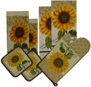 7 Pieces 100% Cotton Kitchen Linen Set. (Oven Mitt, Kitchen Towels, Dish Cloths and Pot Holders) (Latte)