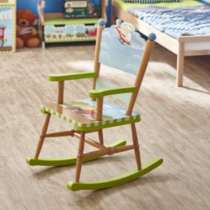 Fantasy Fields - Transportation Thematic Kids Wooden Rocking Chair Imagination Inspiring Hand Crafted & Hand Painted Details Non-Toxic, Lead Free Water-based Paint