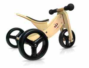 Kinderfeets TinyTot - 2-in-1! Wooden Balance Bike and Tricycle in One. Adjustable Seat. FOR AGES 12 TO 24 MONTHS OLD (Natural)