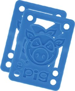 Pig Piles 18 Hard Risers Blue Single Set Skateboarding Risers Pads