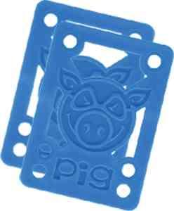 Pig Piles 18 Hard Risers Blue Single Set Skateboarding Risers Pads