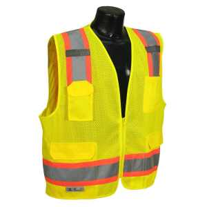 Radians SV6-2ZGM-XL Two Tone Class 2 Surveyor Polyester Mesh Vests with Contrasting Trim