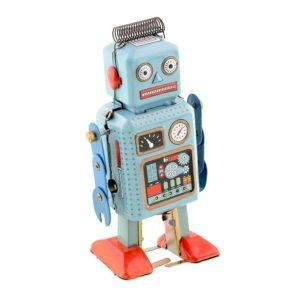 Soledi Funny Dark & Green Clockwork Spring Wind Up Metal Walking Robot Retro Vintage Mechanical Kids Children Toy Gift