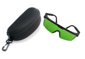 iRainy Laser Eye Protection Safety Goggle Glasses for Green Blue Lasers with Free Hard Case (Green)