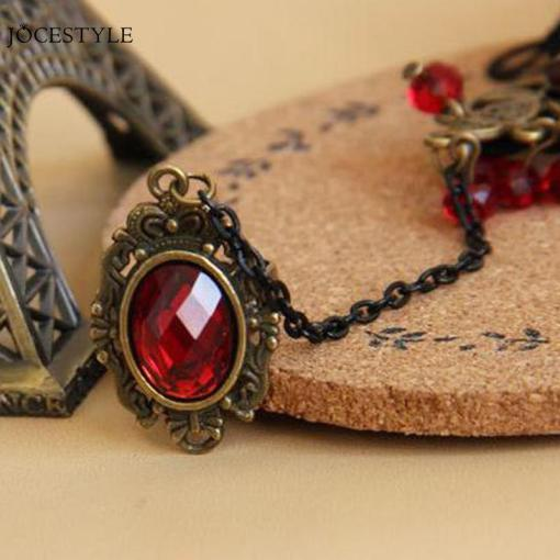 Ensemble Style Gothique Dentelle Rouge Avec Rose + Bague Et Parures De Perles 2