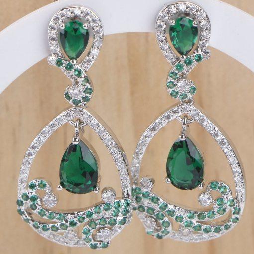 Ensemble Parure + Bracelet + Boucles D'Oreilles En Argent 925 Et Zircone Vert 4