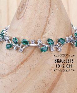 Ensemble Parure + Bracelet + Boucles D'Oreilles En Argent 925 Et Zircone Vert 2