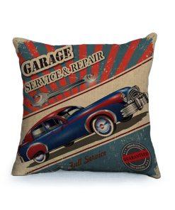 Housse de coussin vintage et rétro thème voitures classique 2