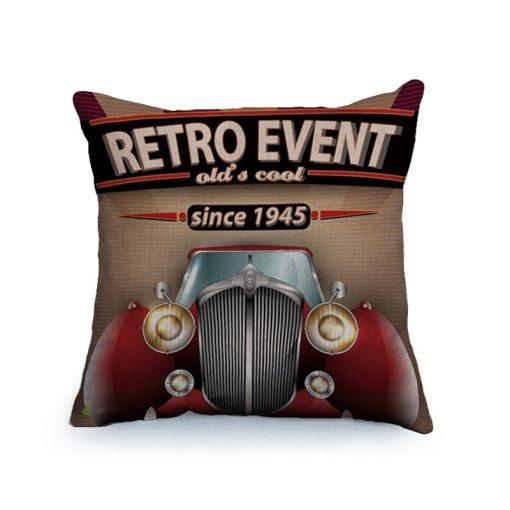 Housse de coussin vintage et rétro thème voitures classique 5