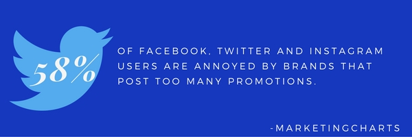 58% OF FACEBOOK, TWITTER AND INSTAGRAM USERS ARE ANNOYED BY BRANDS THAT POST TOO MANY PROMOTIONS.