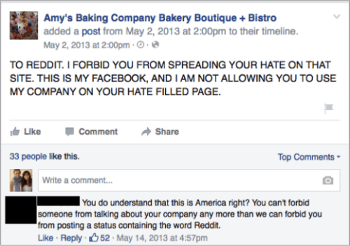 Amy's Baking Company Facebook Review
