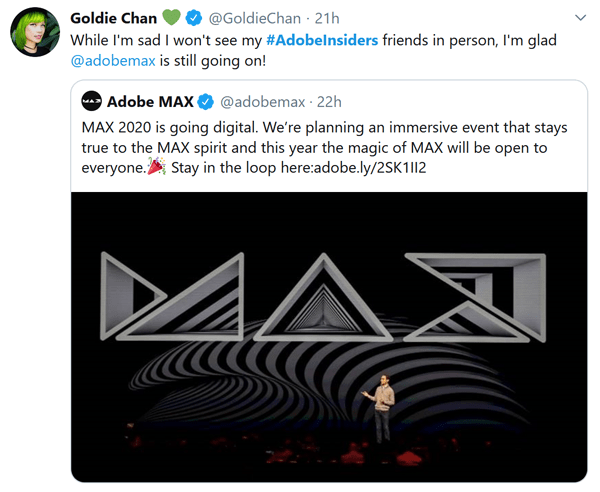 Goldie Chan Twitter Adobe MAX Screenshot