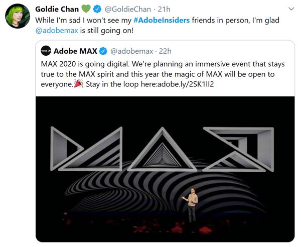 Goldie Chan Twitter Adobe MAX Screenshot