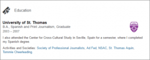 LinkedIn Education Section