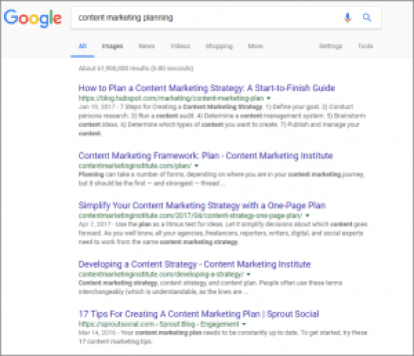 Content Marketing Planning Search in Incognito Window