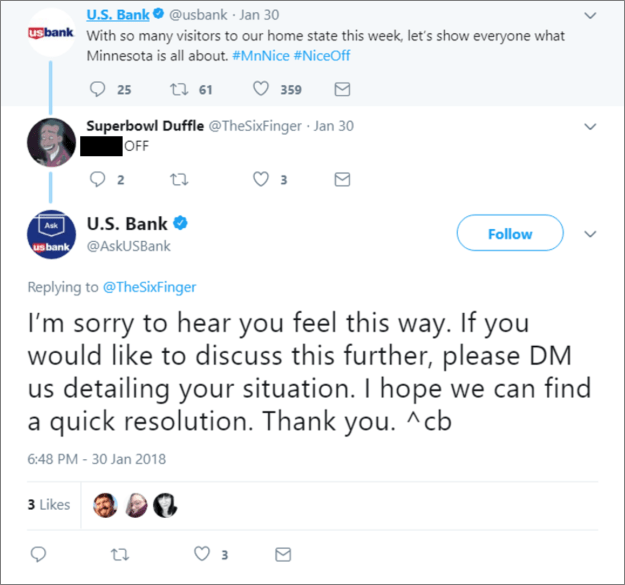 US Bank's Repsonse to Nice Off Troll