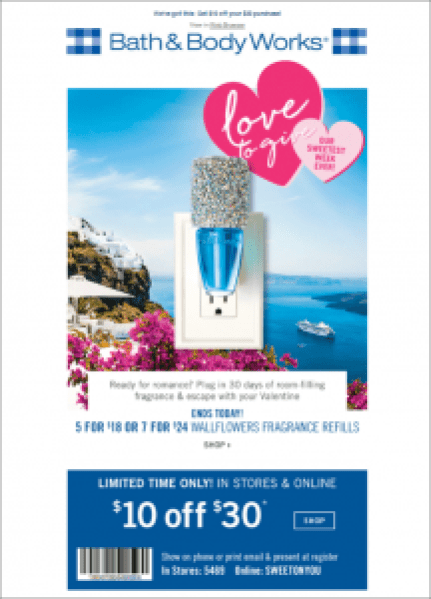 Bath & Body Works Valentine's Day Marketing