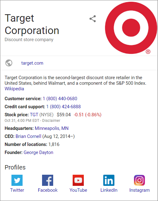 Google My Business Listing for Target