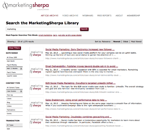 MarketingSherpa Case Studies