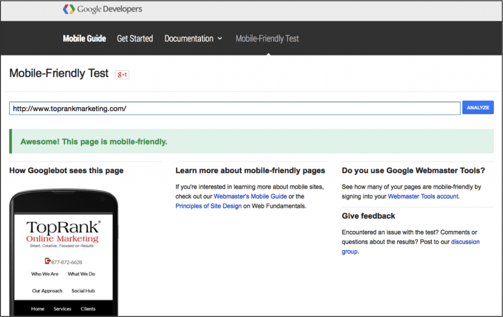 Google Mobile-Friendly Website