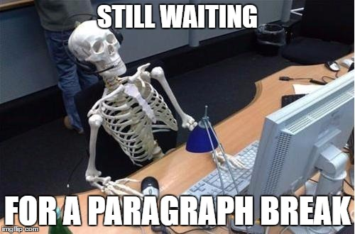 A Skeleton Reading Bad Content Marketing Waits for a Paragraph Break