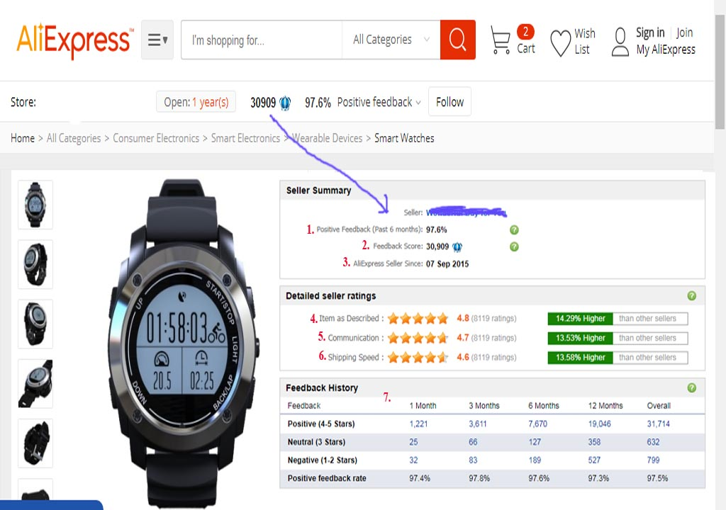 Aliexpress Shopping Guide . Seller Feedback
