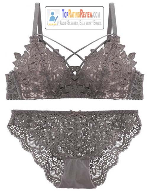 Strappy Lace Wire Free thin Padded Korean Bra & Brief Set