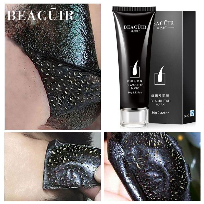 BEACUIR Black Mask Blackhead Remover Nose Mask Acne Treatment Pore Strip Peeling Black Head Deep Clean Skin Care Face Mask 80g