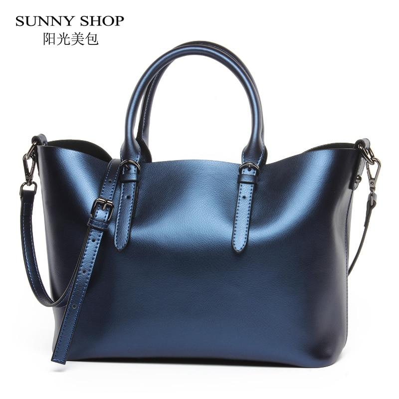 SUNNY SHOP 100% LUXURY Genuine Leather Women Shoulder Bag Brand Designer Cowhide genuine leather handbags Skin Crossbody bag