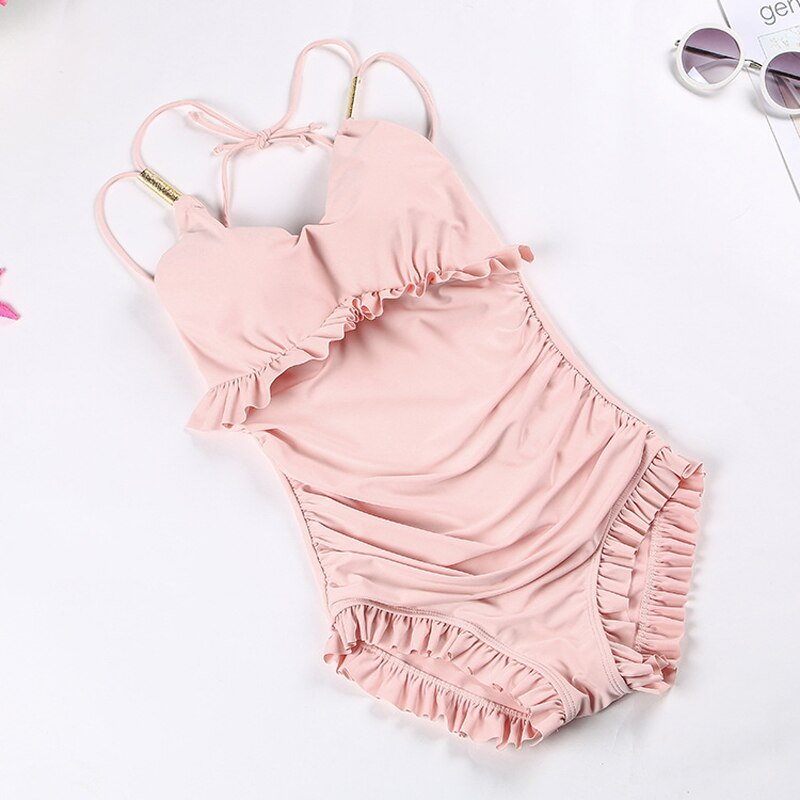 Bikini Set 2019 Clothing Sets For Women Swimsuit Korean One Piece Sexy New Falbala Ladies Swimwear Pure Color Solid Polyester