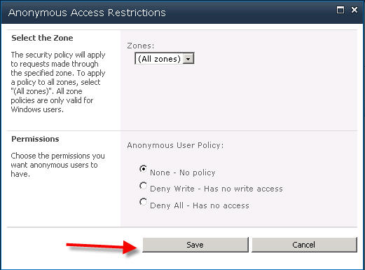 Anonymous Access Set Up Step 6