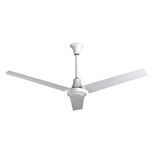 VES Industrial Grade Garage Ceiling Fan forwardreverse with 18-inch Downrod for Indoor or Outdoor 60 Inch Moisture Resistant White