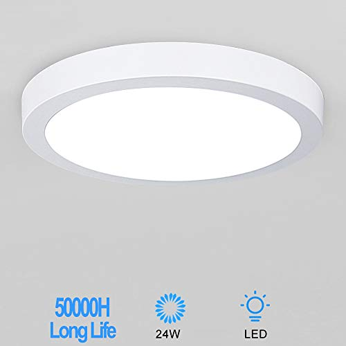 W-LITE 1181 Inch Round LED Ceiling Lights Fixture Flush Mount-24W Surface Mount Soft Daylight Flat Drop Ceiling Lighting for Closet Hallway Stairwell Basement Garage Kitchen
