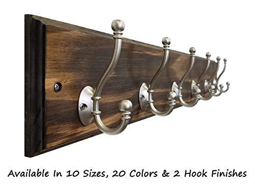 Brookside Wall Mounted Coat Hooks Towel Hooks Clothing Hooks Garment Hooks Customizable Number of Hatboro Double Hooks Available in 20 Colors - Dark Walnut