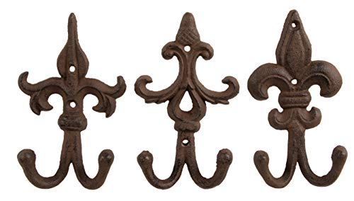 Juvale Shabby Chic Ornate Iron Hook - Classic Wall Mounted Hook for Coat Hat Scarf - Set of 3