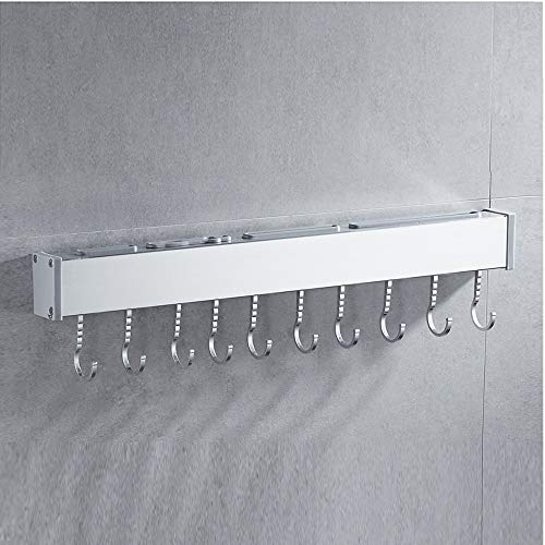 JANRON Hooks Wall Mounted Hanging Rail Rack Multipurpose Wall Mounted Pan Pot Rack Kitchen Utensils Hanger Organizer Lid Holder Stainless Steel - 50CM