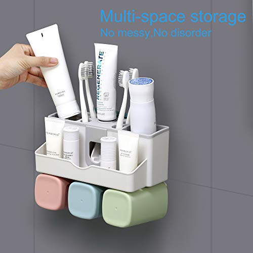 Wall Mounted Toothbrush Holder Toiletry Items Storage Holder No Drilling on Wall Toothpaste Holder with Dispenser Toothbrush Storage Set with 3 Rinse Mouth Cups for Family Washroom Bathroom 3 CUPS