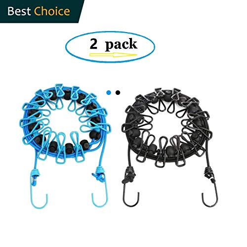 Newraturner2 Pack Portable Clothesline with 12 Clothespins Windproof Travel Clothesline Stretchy Retractable Elastic Laundry Clothes Line for Backyard Vacation Hotel Balcony Clothes Drying Line