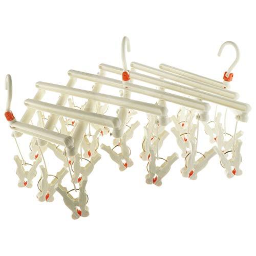 Dolloress Roller Retractable Laundry Rack Underwear Socks Hook Hanger Dryer 29 Clips-Gifts for Dad