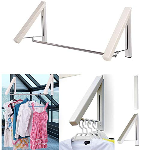 Clothes Hanger - Folding Retractable Clothes Racks Wall Mounted Clothes Drying Rack Home Storage Organiser Space Savers for Living RoomBathroomBedroomOffice Easy Installation - 2 Pack