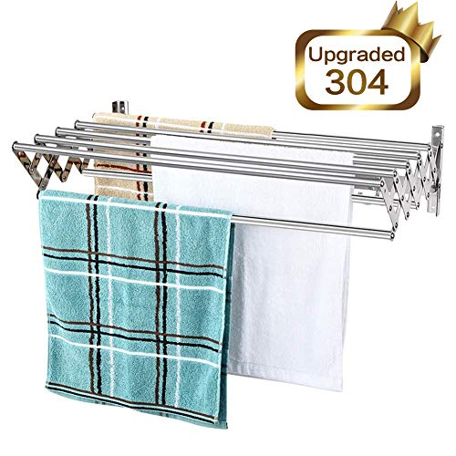 Mertonzo Folding Clothes Drying Rack Wall Mount 304 Stainless Steel Retractable Laundry Drying Rack Bathroom Towel Rack with Hooks Rustproof Space-Saving Clothing Hanger for Indoor Outdoor