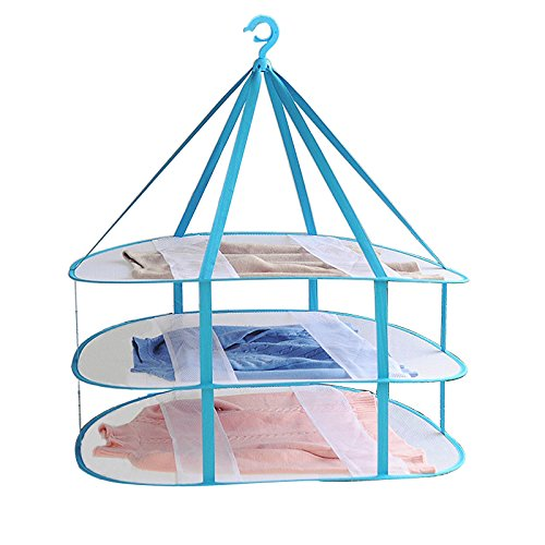 Adwaita Large Size 3-Tier Folded Mesh Clothes Hanging Dryer T-ShirtSweater Drying Rack 303 L x 245 W x 307 H