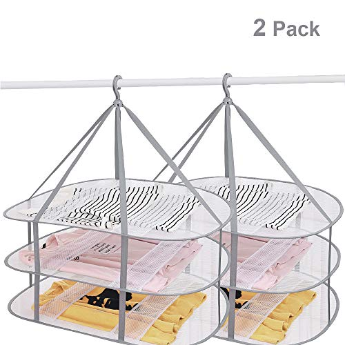 SUNTRY 2 Pack 3-Tier Folding Clothes Drying Rack Windproof Foldable Cloth Dryer with Fixing Band Collapsible Hanging Laundry Rack for Sweater - Outdoor Indoor Potable