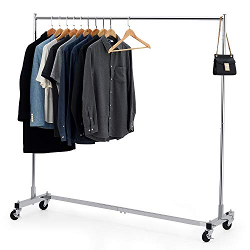 Bextsware Heavy Duty Clothing Rack Industrial Grade Z-Base Garment Rack on Wheels with Brakes Commercial Rolling Hanging Clothes Rack 400LBS Load with 63 Extra Long Bar Chrome