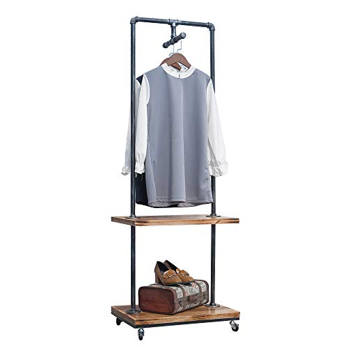 GWH Industrial Pipe Retail Clothing Rack on WheelsVintage Wooden Display Rack with ShelvesBlack Standing Rolling Cloths Rack Garment Rack Coat RackCommercial Clothes Racks for Hanging Clothes