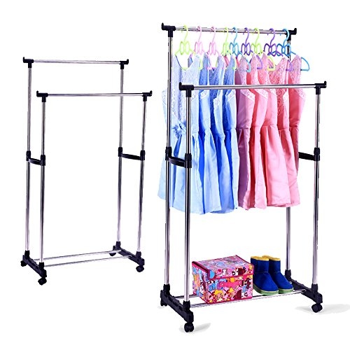 KARMAS PRODUCT Portable Double Rods Rolling Clothes Rack Adjustable Garment Rack Hanging Rack for Clothes with Wheels