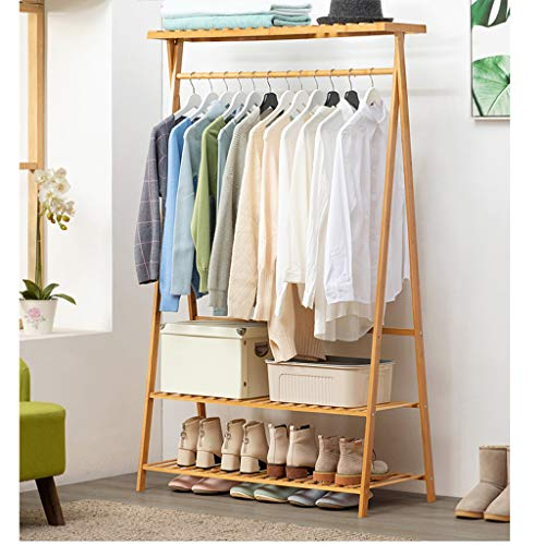 UPDD 63 Inch 2-Tier Garment Rack Clothes Organizer Shelves with Shoes Storage Heavy Duty Bamboo Clothing Hanging Storage Organizer with Top Shelf Coat Clothes Rack Bamboo Color